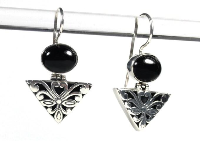 Black Onyx Sterling Silver Ornate Design Dangle Gemstone Earrings from Beautiful Silver Jewelry