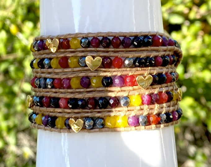 Hematite and Red, Wine, Yellow Agate 5x Wrap Bracelet, Gold Heart Beads, Quality Bronze Leather, Hand-sewn Bracelet Fits Up to Plus Size
