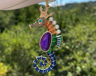 Seahorse Colorful Sparkling Pendant Necklace 27 Inch Over The Head Long Chain Plus 3 Inch Extender Womens Gift Beach Wear Animal Jewelry