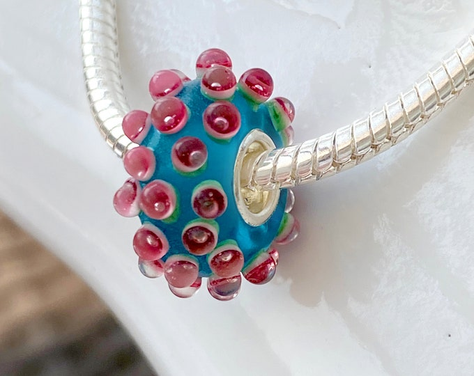 Pink and Blue Sea Anenome 3D Lampwork Glass Bead Charm - 925 Sterling Silver Bead For European Snake Chain Charm Bracelets - Save on More