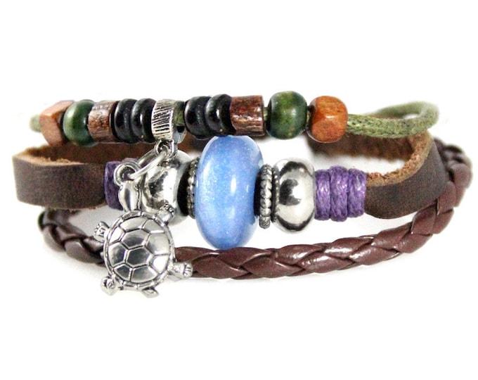 Turtle Charm Multi Strand Genuine Leather Bracelet Quality Hand Made Beaded Wrap Zen Bracelet for Men, Women, Teens, Teenager, Boys, Girls