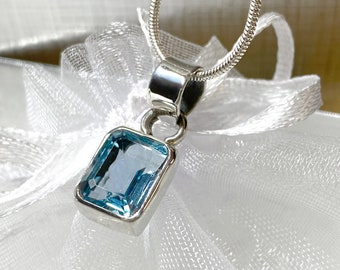 Blue Topaz 8mm x 10.5mm Emerald-Cut Sterling Silver Handcrafted Pendant - Free SP Necklace Chain - December Birthstone Women Girls Necklace