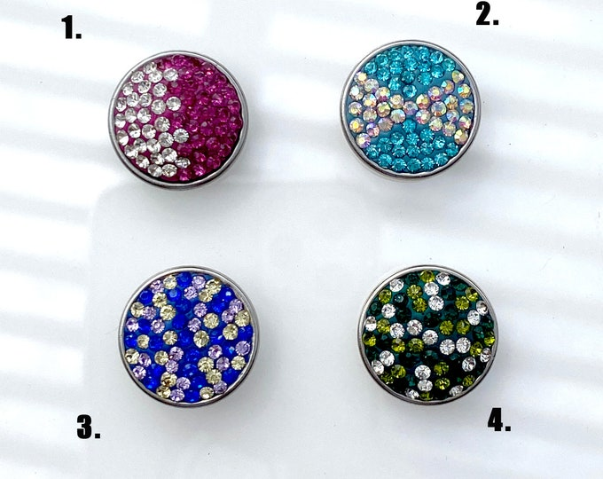 Crystal Snap On Charm - Choose Your Crystal Charm - Berry, Aqua, Blue Mix, Green Mix- snap button charm, chunk buttons, ginger snap jewelry