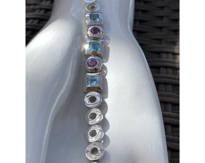 Sky Blue Topaz and Amethyst Square-Cut Gemstone Bracelet - December and February Birthstones - Designer Created Bracelet 2 Adjustable Loops