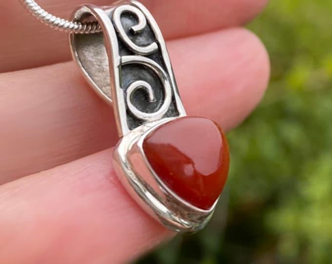 Carnelian Gemstone Trillion Cut Pendant Necklace Handcrafted in 925 Sterling Silver, Genuine Gemstone Handcrafted Celtic Design Bezel Set