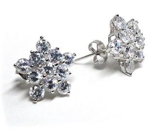 Brilliant Cubic Zirconia Starburst CZ Earrings Sterling Silver Elegant Sparkling Earrings, Holiday, Prom, Event, Formal, Wedding, Bride