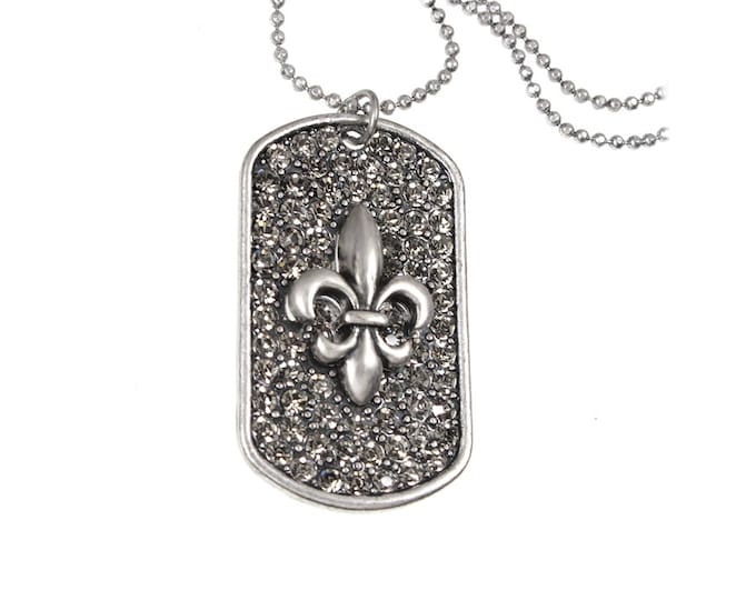 Fleur de Lis Gray Crystal Dog Tag Pendant Necklace on 24 inch Bead Chain with 4 Inch Extender - Pave Crystal Brilliant Sparkling Necklace