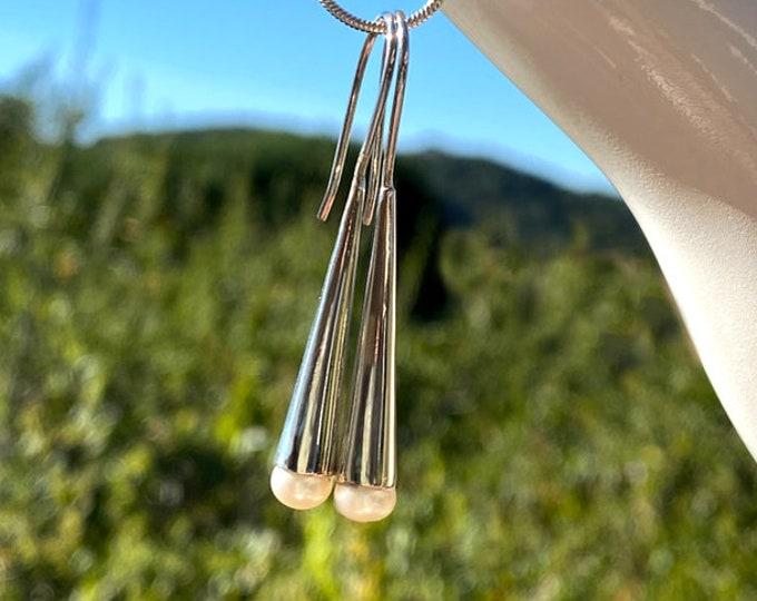 Freshwater Pearl Sterling Silver Long Tube Earrings, Women's Dangle Earwire Earrings, June Birthstone, Designed by Beautiful Silver Jewelry