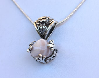 Ornate 925 Sterling Silver Shell Pendant - Comes with A Complimentary SP Chain in 16, 18 or 20 inch length