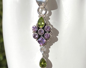 Amethyst and Peridot Pendant Handcrafted Sterling Silver Genuine Gemstones August and February Birthstone Jewelry - Free SP Necklace Chain