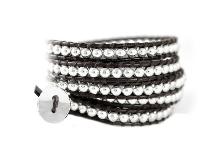 Dark Brown Leather 5x Wrap Bracelet Quality Hand Sewn Bracelet with High Polish Silver Plated Beads Wraps 5x, Fits Up To Plus Size