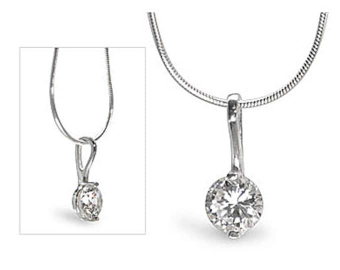 Brilliant 1 Carat Solitaire Cubic Zirconia CZ 925 Sterling Silver Pendant - Complimentary 16 or 18 Inch SP Snake Necklace Chain Included