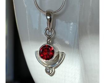 7mm Garnet Pendant Sterling Silver and 5mm Garnet Earwire Earrings, January Birthstone Jewelry - Garnet is Year 2 Anniversary Gemstone