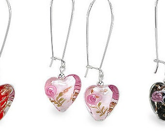 Lampwork Glass Heart and Rose Sterling Silver Long Earwire Earrings - Choose Red, Pink or Black Glass Hearts and Choose Earwire Type