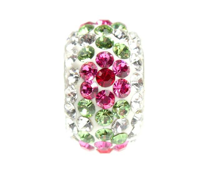 Crystal Flower Bead Charm - Sterling Silver Interior Slide On Bead For European Style Snake Chain Charm Bracelets