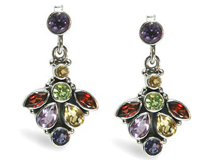 Multi Gemstone Dangle Earrings with Garnet, Amethyst, Citrine, Peridot, Iolite Sterling Silver - Exclusively from Beautiful Silver Jewelry