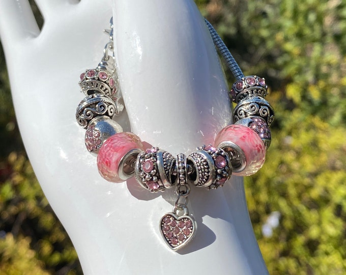 Pink Heart Pink Crystal Charm European Charm Bracelet on Snake Chain with Adjustable  Clasp - Changeable Bead Large Hole DYI Bracelet