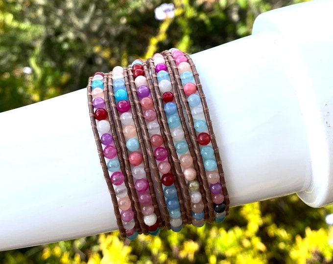 Colorful Agate Bead Wrap Bracelet Hand Sewn on Genuine Leather Wraps 5x Around Wrist