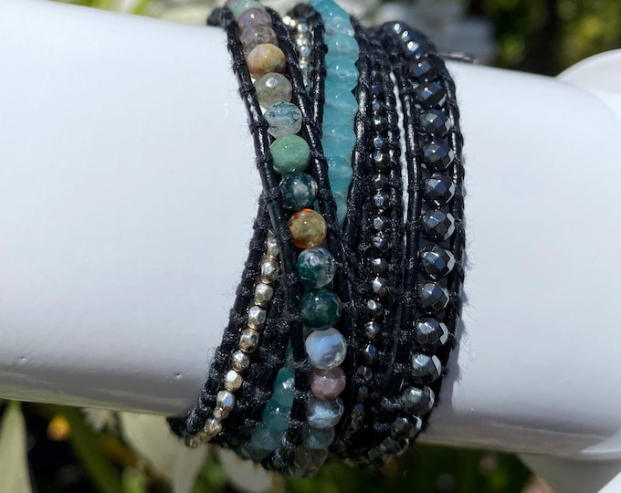 Hematite, Agate and Silver Nugget Bead 5x Wrap Bracelet On Black Leather, Adjustable