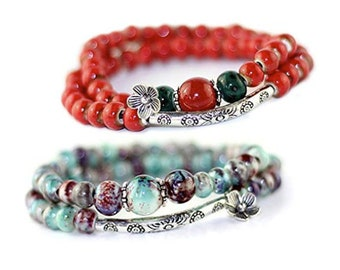 Two Beaded Boho Wrap Stack Bracelets, Handmade Ceramic Bead Bracelets Stack  Bohemian Gypsy Style Bangles, Wear One or Both