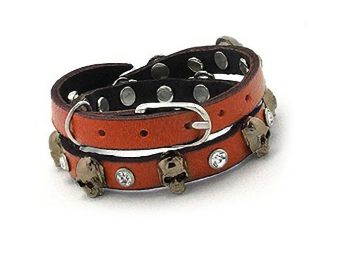 Skull Studded Burnt Orange on High Quality Genuine Leather Double Wrap Buckle Bracelet with Crystal Accents