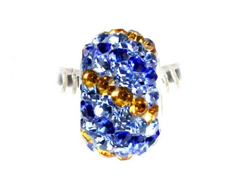 Blue and Amber Stripe Crystal Bead Charm - Sterling Silver Style Slide On Bead For European Style Snake Chain Charm Bracelets