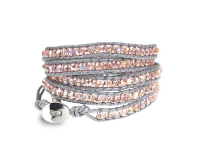 Pink Crystal Bead on Silver Leather 5x Wrap Bracelet Boho Five Times Wrap Womens Jewelry Gift Beaded Hand Sewn Leather Long Wrap Bracelet