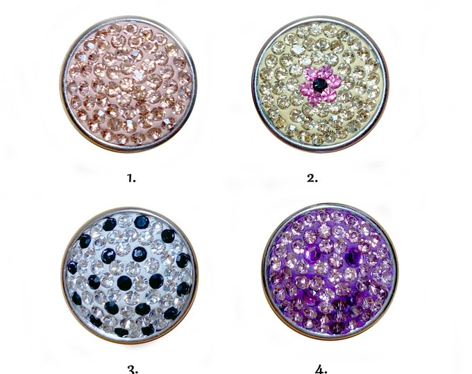 Peach - Lilac Pink - Black & White - Yellow Flower Crystal Snap Chunk Buttons - crystal snap charms - switchable noosa ginger charms