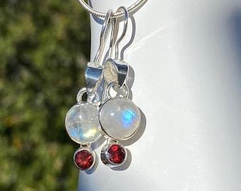 Rainbow Moonstone & Garnet Gemstone Sterling Silver Birthstone Dangle Earrings, Garnets for January, Moonstone for June Birthstone