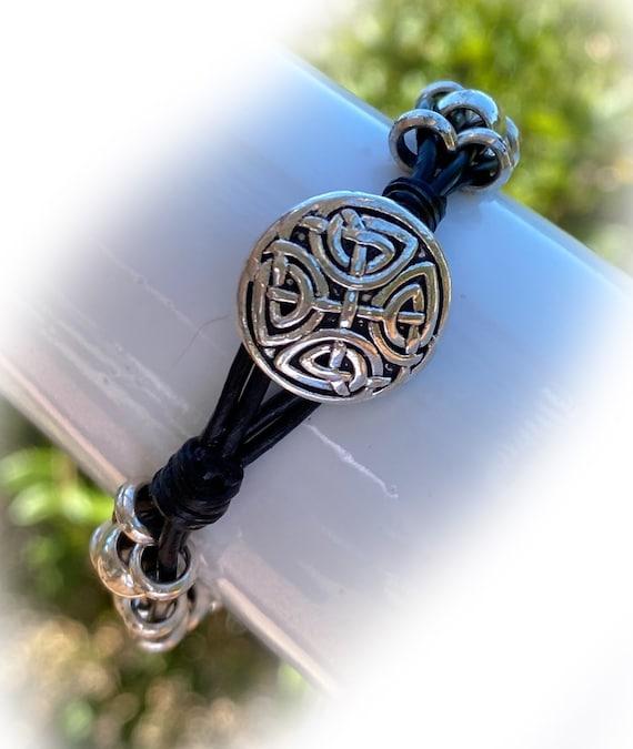 Men/'s Leather Bracelet Celtic Knot Wrap Bracelet Silver Plated Beads Bracelet Black Boho Beaded Bracelet Multistrand Black Leather Cord Brac