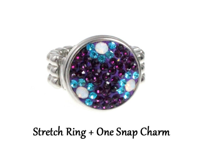 snap charm ring and 1 purple crystal snap charms - chunk buttons - ginger snaps - interchangeable jewelry - ring SNAP jewelry chunk