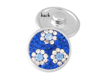Royal Blue and White Crystal Flower SNAP button charm - snap on chunk buttons ginger snaps interchangeable jewelry SNAP jewelry snap chunk