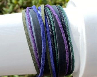 Colorful Black Leather, Blue, Green Cords Double Wrap Multi Strand Zen Bracelet with 3 Adjustable Snaps for Men, Women, Teens, Boys, Girls
