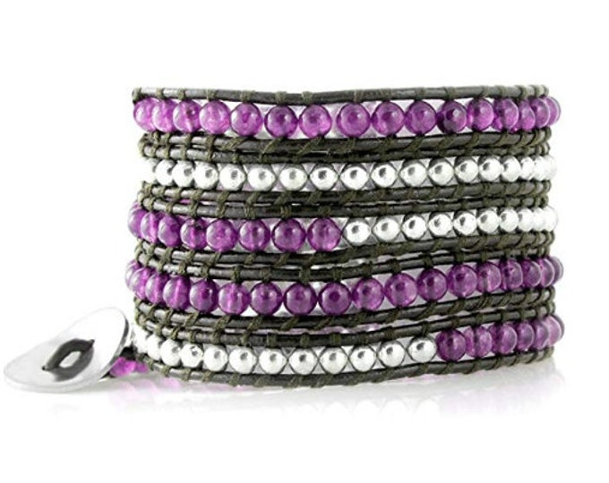 Purple Agate Beads with Silver Beads on Brown Leather 5X Wrap Bracelet Designed By and Exclusively From Beautiful Silver Jewelry