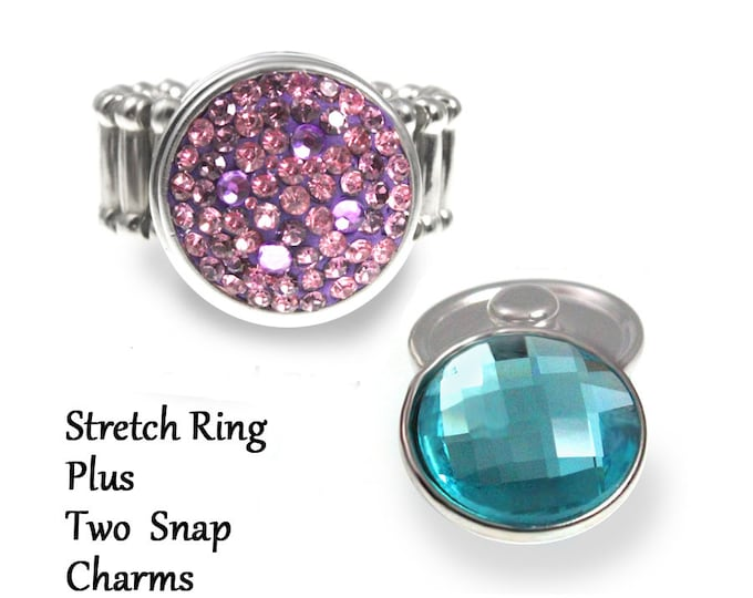 snap charm ring and 2 snap charms - chunk buttons - ginger snaps - interchangeable jewelry - stretch ring - SNAP jewelry snap chunk