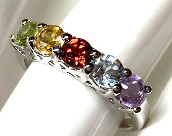 Garnet, Peridot, Citrine, Blue Topaz, Amethyst Gemstone Birthstone Ring Mother's Ring in Sterling Silver, Size 7 and Size 8