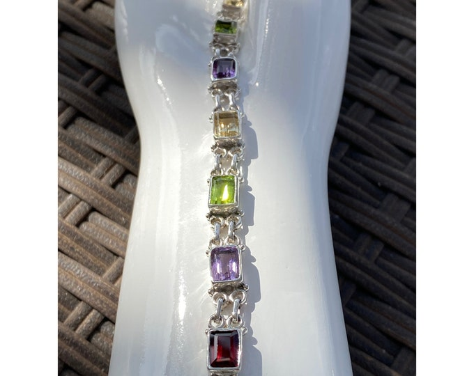 Multi Gemstone Tennis Bracelet with Peridot, Citrine, Amethyst Garnet Gemstone in 925 Sterling Silver, Adjustable Average to Plus Size