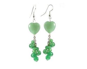 Green Aventurine Heart Shape Dangle Bead Earrings with Sterling Silver Earwires