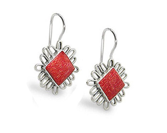 Red Coral Art Earrings in 925 Sterling Silver with Safety Hook Back - Exclusively from Beautiful Silver Jewelry