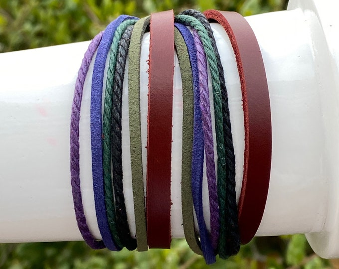 Red Leather Double Wrap Multi Strand Zen Bracelet with 3 Adjustable Snaps - Blue, Purple Cuff Stack Bracelet, Men, Women, Teens, Boys, Girls