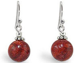 Red Coral Ball Dangle Sterling Silver Earwire Earrings