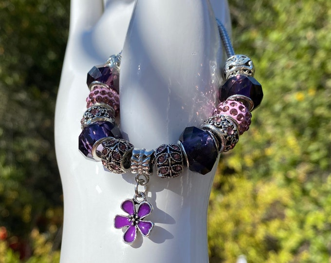 Purple and Pink Crystal Charm European Charm Bracelet on Snake Chain with Adjustable  Clasp - Changeable Bead Large Hole DYI Bracelet