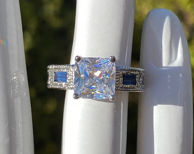 Square Cut Cubic Zirconia Brilliant Sparkling CZ Statement Ring with Inset Blue CZ Stones in 925 Sterling Silver - SIZE 5.5