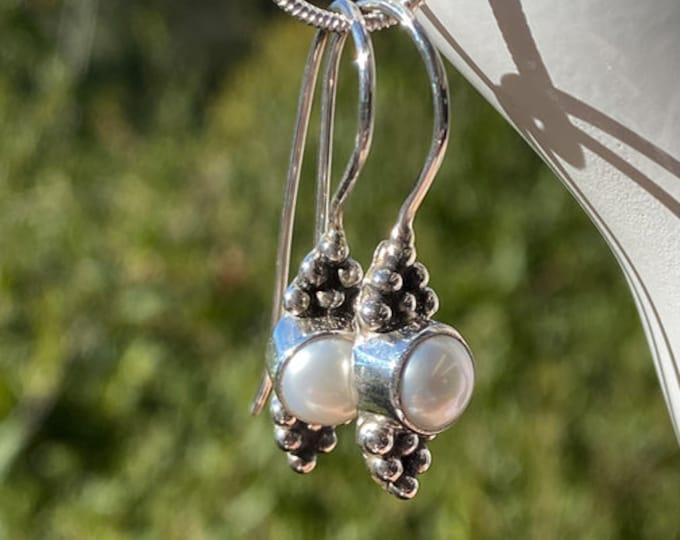 Freshwater Pearl Sterling Silver Art Deco Earrings, Women's Dangle Earwire Earrings, june Birthstone, Designed by Beautiful Silver Jewelry