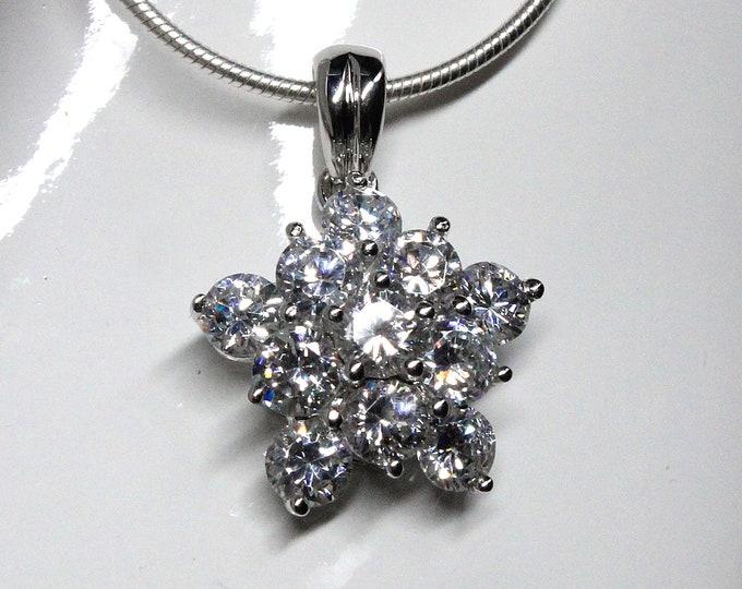 Brilliant Cubic Zirconia Starburst Design CZ Pendant Necklace Sterling Silver for Wedding, Bride, Bridesmaid, Mother of The Bride