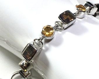 """Smoky Topaz and Citrine Gemstone Bracelet Sterling Silver, November Birthstones, Adjustable Loops and Toggle, 8.5"""" Med to Lg Size Bracelet"""