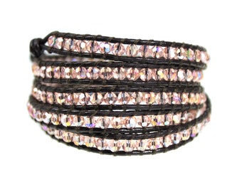 Iridescent Peachy Pink Crystal Beads Sparkle on Brown Leather 5x Wrap Bracelet Boho Five Times Wrap Womens Gift Hand Sewn Wrap Bracelet