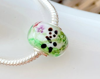 Panda Holding Bamboo with Flowers on Back Lampwork Glass Bead Charm - Sterling Silver Slide On Bead For European Snake Chain Charm Bracelets