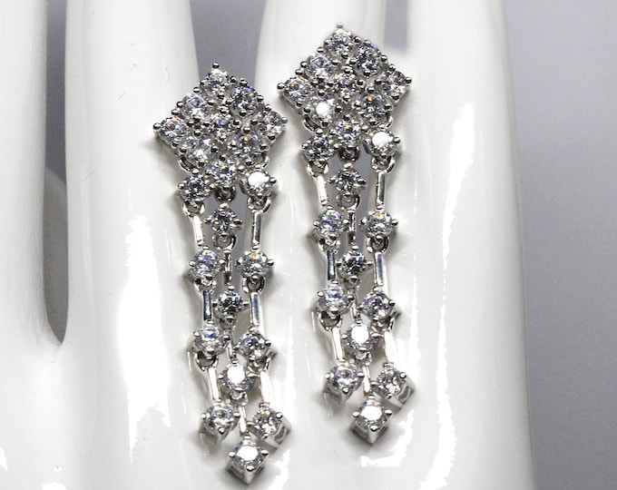 Cubic Zirconia CZ Chandelier Earrings 925 Sterling Silver Anniversary, Birthday, Brides, Bridesmaids Brilliant Sparkle with Quality CZs