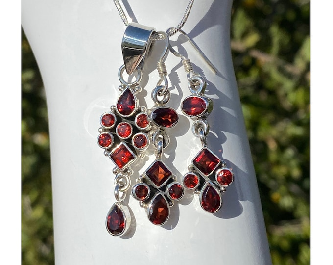 Garnet Gemstone Pendant or Earrings or Set, Sterling Silver, Allure January Birthstone Jewelry by Beautiful Silver Jewelry, Necklace Set